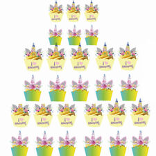 Unicorn Cupcake Toppers & Wrappers Double Sided Kids Party Cake Decoration 24pcs