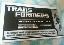 Transformers GENERATIONS DECEPTICON BANZAITRON INSTRUCTION BOOKLET ONLY
