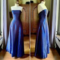SCOTT MCCLINTOCK 80s 90s VINTAGE Rayon PROM Dress XS S Blue Metallic SIZE 8 WOW