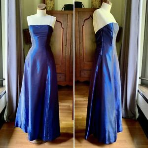 Vintage SCOTT MCCLINTOCK 80s 90s Rayon PROM Dress XS S Blue Metallic SIZE 8 WOW