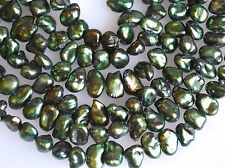 5 to 6 x 7 to 8 mm Dark Green Keishi Nugget Freshwater Pearl Beads (#107)