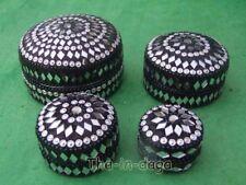 Assortiment Lot 4 Boites Paillettes 100% Artisanat Inde Noir