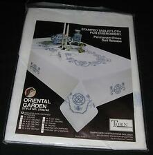 58 in round TOBIN ORIENTAL GARDEN TABLECLOTH Stamped for Cross Stitch Embroidery