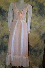 vtg 60s 70s PRAIRIE PEACH revival LACE LONG white overlay maxi dress XS XXS