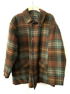 Johnstones Of Elgin Pure New Wool Coat Jacket Brown Green Check Quilted XL XXL
