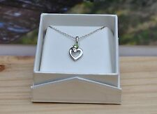 PERIDOT HEART PENDANT GIFT HANDMADE STERLING SILVER 925 WITH GIFT BOX