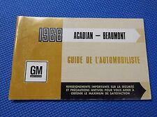 1968 ACADIAN BEAUMONT French Canadian Owners manual