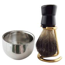 Black Badger Hair Shaving Set Kits Beard Brush Holder Metal Bowl Cup Mug Stand