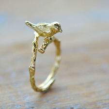 Bird Ring in 24K Gold Plating Bird Perched on Branch - Adjustable