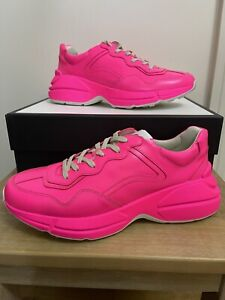 BN GUCCI RHYTON FLUORESCENT PINK LEATHER TRAINERS LIMITED EDITION SIZE UK 10