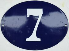 Large old oval French house number 7 door gate plate plaque enamel steel sign