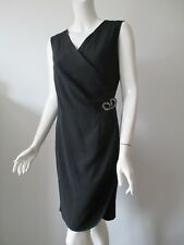 Blumarine Italy Black Matte V Neck Sleeveless Wrap Dress I 44 / D 38