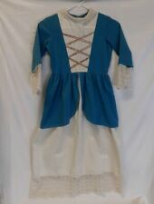 Vintage Girls Youth Blue Victorian Style Dress Lace Trim SNOW WHITE PRINCESS