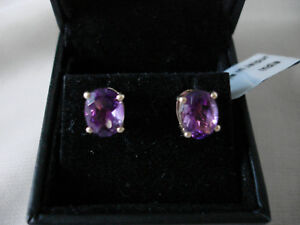 NEW + tag 9 K GOLD with very rare 3.48 ct MOROCCAN AMETHYST STUDS /EARINGS