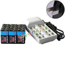 12x 9V 6F22 PPS 600mAh Ni-Mh Rechargeable Battery + 8 Slot Batteries Charger