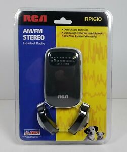 RCA AM/FM Stereo Headset Radio w/Belt Clip RP1610 w/Headphones