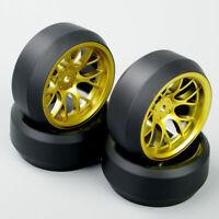 4PCS 1:10 RC Speed 3 Degree Tires Tyre Golden Wheel Rim For HPI Drift Car DHG