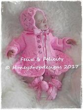HONEYDROPDESIGNS * Felix & Felicity* PAPER KNITTING PATTERN  0-12 MONTHS approx.