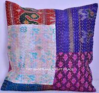 Vintage Kantha Oreiller Patchwork Coussin Housse Indien 40.6cm Décorative Boho