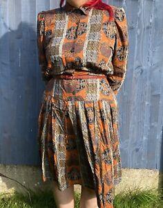 Vintage Orange Belted Tea Dress - Size 14 - Graphic Print MADE IN UK