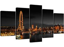 London Eye Canvas Prints UK Night for your Living Room - Set of Five