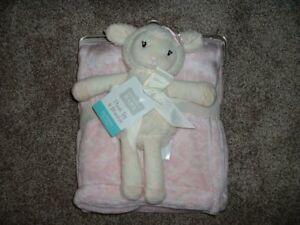 Hudson Baby Lamb Plush Blanket Set Sheep Pink Ivory Fleece Infant Girl NWT HTF