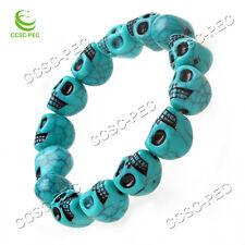 50pcs Fashion Charms Resin Turquoise Style Skull Bracelet Elastic Wristband FREE