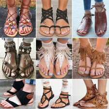 Ladies Womens Gladiator Sandals Summer Holiday Flat Beach Flip Flops Shoes Size