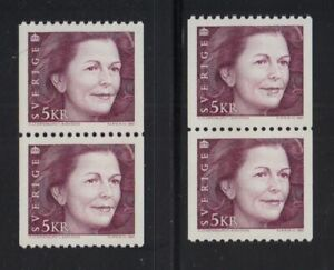 1991 SWEDEN Queen Silva MNH coil 2 pairs SG 1568 Mi 1661