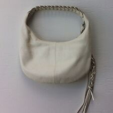 BANANA REPUBLIC Ivory White Leather Hobo Purse Shoulder Bag w/long Tassle Small