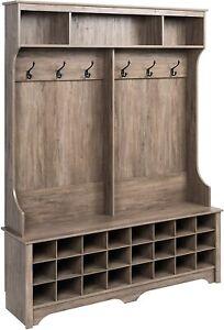 Driftwood Finish Wooden Hall Tree Shoe Storage Entryway Cubbies Coat Rack Hooks