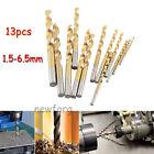 13pc 1.5-6.5mm HSS Titanium Coated High Speed Twist Drill Bit Set Straight Shank