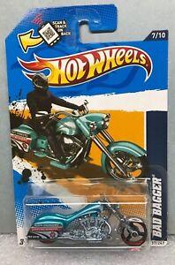 Hot Wheels 2012 Blue POLICE Bad Bagger Motorcycle As Seen Rare BP