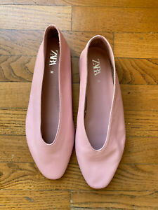 Flat shoes soft leather pink, Zara,  size 38