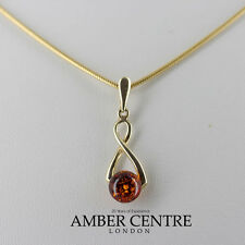 Italian Made  Elegant Modern Amber Pendant in 9ct Gold- GP0067  RRP£85!!!