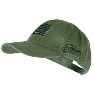Voodoo Tactical 20-9353 Contractor Baseball Cap w/ Sewn on Flag Patch, Olive