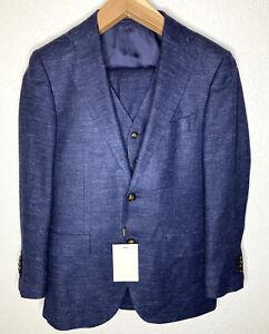 SUITSUPPLY Lazio E.Thomas NAVY Wool Silk Linen 3-Piece Suit Sz 38S NEW $738