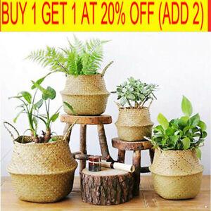 Foldable Seagrass Woven Storage Plant Flower Pot Belly Basket Laundry Hamper UK/