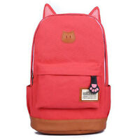 Women Girls Cute Cat Ear Cartoon Backpack Schoolbag Rucksack Shoulder School Bag