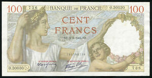 FRANCE - 100 Francs 2-4-1942 Banknote Note P 94 P94 (XF+)
