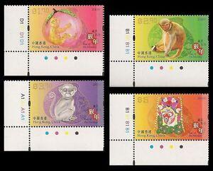 Hong Kong Lunar New Year Monkey stamp set plate LL MNH 2016