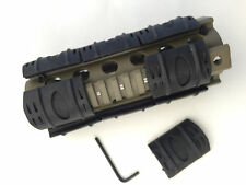 "Carbine Length 6.7"" Handguard Picatinny Quad Rail Tan with Rail Covers"