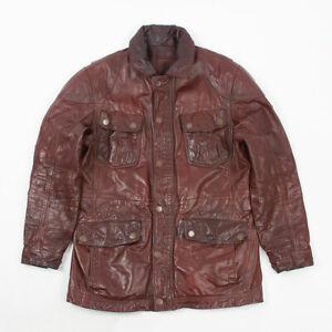 Timberland trialmaster brown leather biker jacket