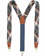 $75 Club Room New Men'S Blue Green Plaid Braces Clip-End Adjustable Suspenders