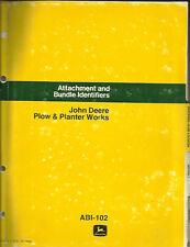 JOHN DEERE PLOW AND PLANTER WORKS ATTACHMENT AND BUNDLE IDENTIFIERS PARTS CATALO