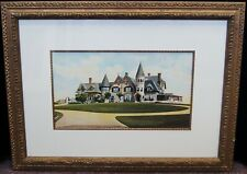 """Unsigned """"Summer Home"""" Vintage Lithograph Print Framed 21x28"""" B4422"""