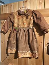 "Gorgeous Indian Style Little Girls Dress Chest 24""  Approx 18 Months Tan Brown."