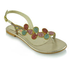 dc44c748316474 Womens Slingback Toe Post Diamante Sandals Ladies Flat Sparkly Holiday  Shoes 3-9 UK 8