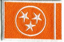 """Tennessee VOLS Orange & White Embroidered Flag Patch 3"""" x 2"""" Sew On"""