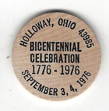 1976, Holloway, Ohio, US Bicentennial Celebration, Wooden Indian Nickel Token